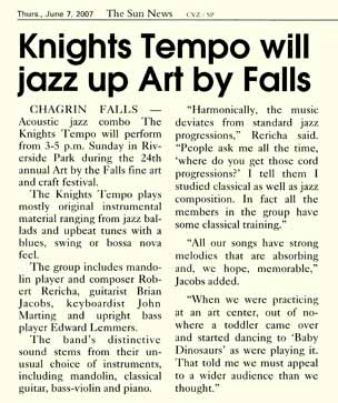 Reproduction of News Clipping of The Knights Tempo